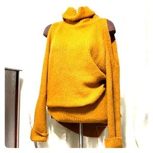 Forever 21 mustard cold shoulder turtleneck